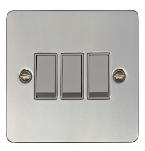 G&H FC3W Flat Plate Polished Chrome 3 Gang 1 or 2 Way Rocker Light Switch